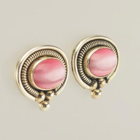 Sterling-Silver-Pink-Cats-Eye-Chalcedony-Stud-Earrings