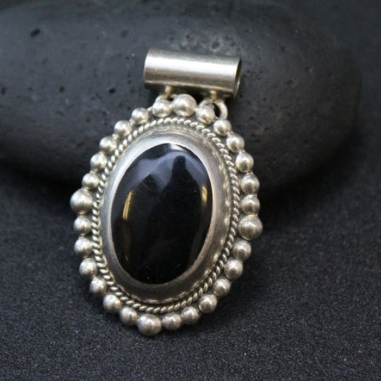 Sterling Silver and Onyx Oval Pendant with Rope and Beaded Border