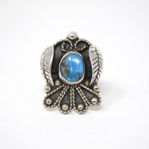 Vintage Mexico Turquoise Sterling Silver Feather Ring