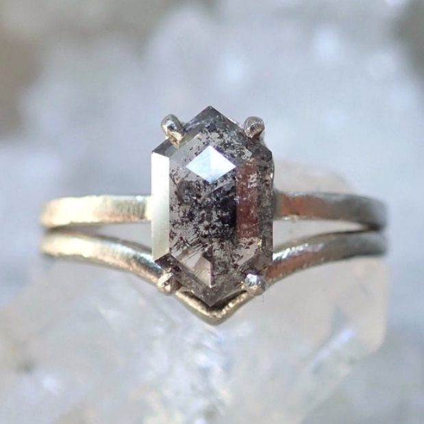 Raw Diamond Salt and Pepper Hexagon Engagement Ring