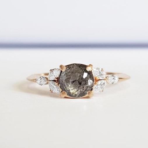Salt and Pepper Rose Cut Diamond Engagement Ring