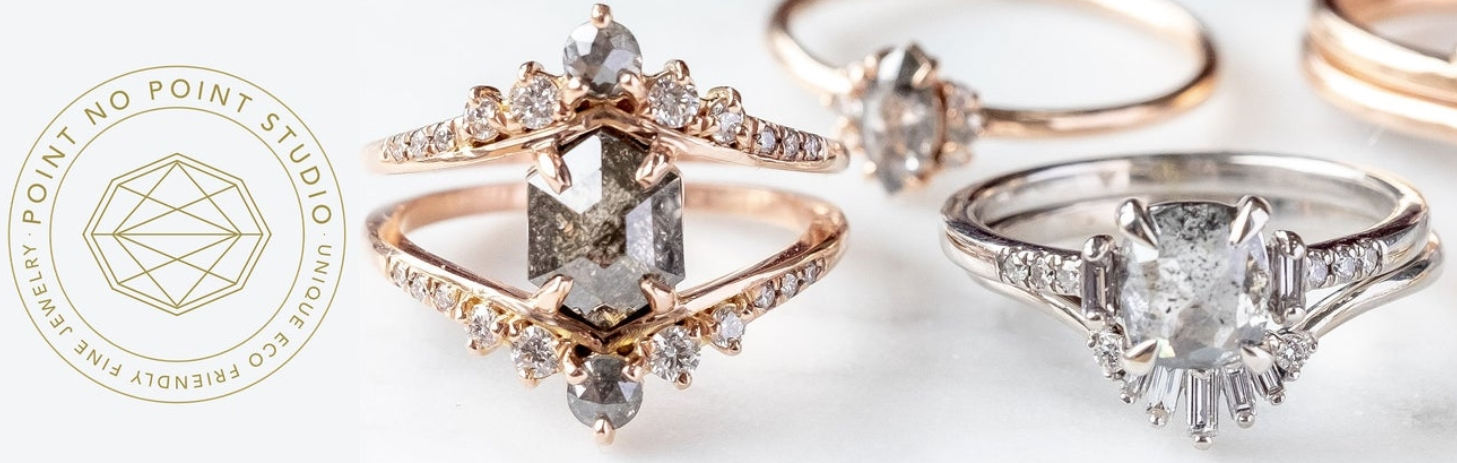 Unique Engagement and Wedding Rings Eco by PointNoPointStudio
