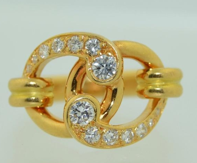 Chaumet 18K Gold with Brilliant Cut Diamond Ring from Okeys Secret Room on Etsy
