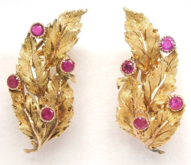 Buccellati 18K Yellow Gold and Ruby Earrings from AJ Martin Jewelry on Etsy