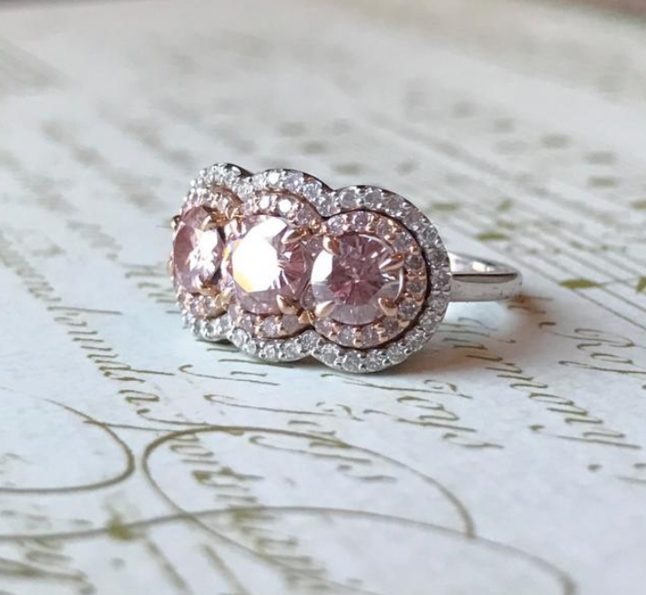Three Stone Halo Diamond Ring by JYB Jewels on Etsy