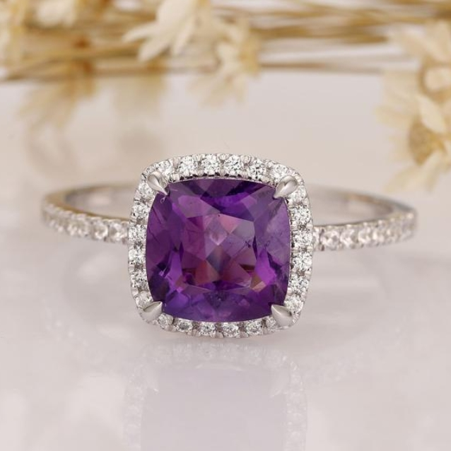 Cushion Cut Amethyst - 14K Solid Gold Engagement Ring from Yeefvm on Etsy
