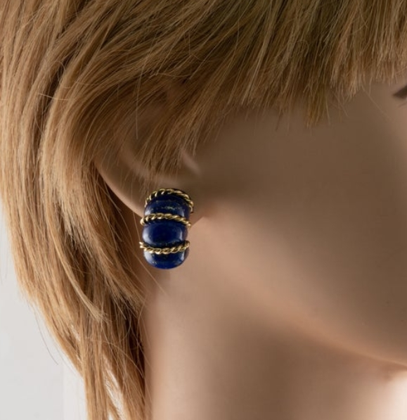 18K Gold Seaman Schepps Lapis Lazuli Earrings from Best Estate Jewelry on Etsy