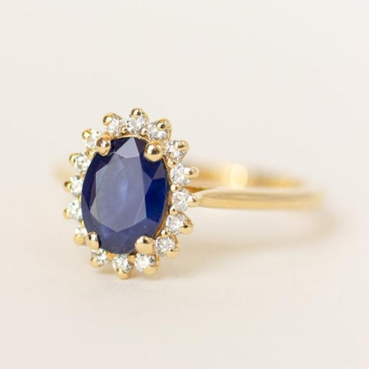 Blue Sapphire Halo Engagement Ring Halo from Evorden on Etsy