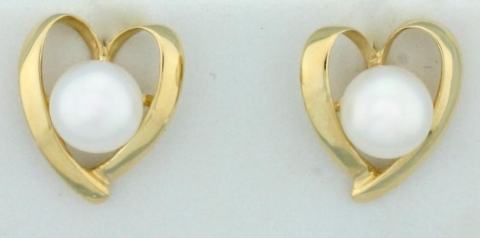 Mikimoto 7mm Akoya Cultured Pearl Heart Earrings in 14K Yellow from Leif Jewelry Co on Etsy