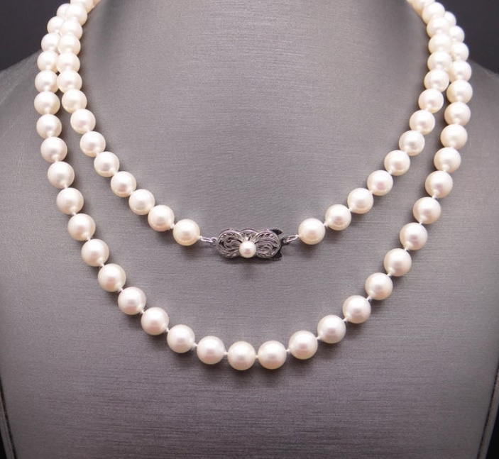 Mikimoto Sterling Silver 6.5mm Round White Pearl Single Strand Necklace from Cileone Jewelry Etsy