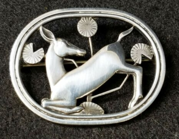 Antique Georg Jensen Sterling Silver Art Nouveau Deco Young Deer Brooch Pin from themasons on eBay