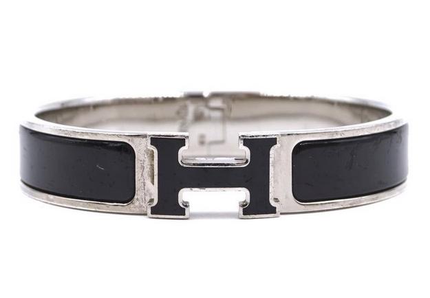 Hermès Silver Black Enamel H Clic Clac Bangle Cuff from Luxcellent on Etsy