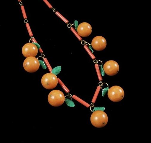 Vintage 1940s Bakelite Orange Fruit Necklace from bellofbow on Etsy