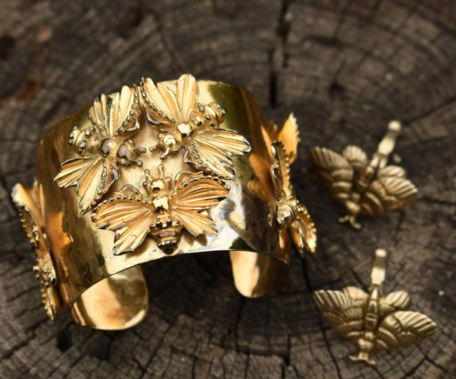 Vintage Natacha Brooks circa 1940 sterling silver gold vermeil cuff and earrings from MerleandShilo on Etsy