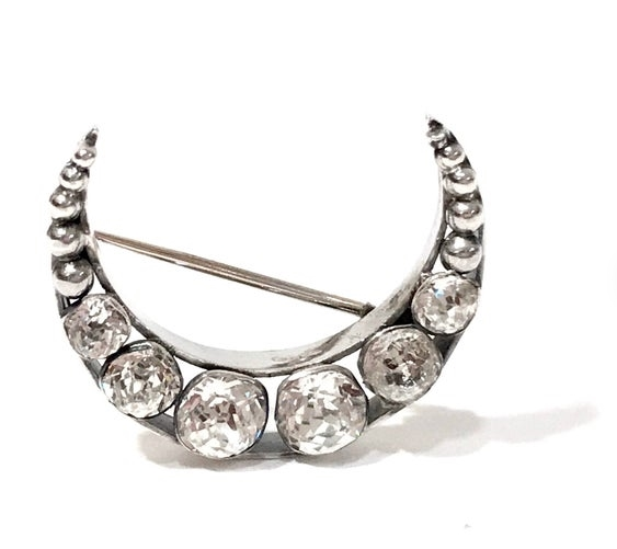 Vintage Sterling Silver Crescent Moon Brooch from justvintage4u on Etsy