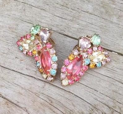 Vintage Weiss Signed Colorful Fruit Salad Clip On Earrings from aDashofHappy on Etsy