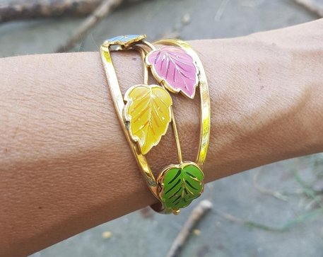 1950s Vintage colorful leaf vine clamped bracelet from Vintage North Nest Egg on Etsy