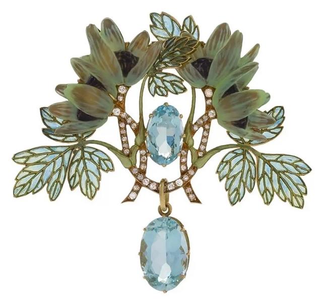 Art Nouveau Brooch with Aquamarine, Diamond and Plique-à-Jour Enamel by Lalique For Sale at 1stdibs