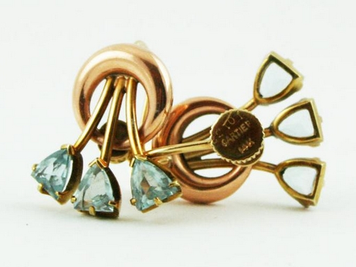 Vintage 1950s CARTIER 14K gold and aquamarine earrings from Mad 4 Modvintage on Etsy