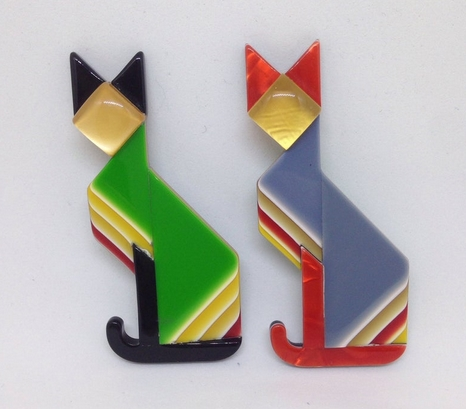 Vintage Lea Stein geometric Art Deco cat brooches from Rhubarbjumbleshop on Etsy